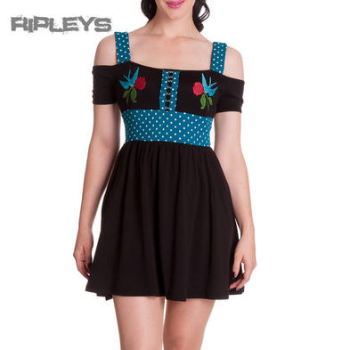 HELL BUNNY Black Mini Dress Tattoo MARY BETH Swallows BLUE All Sizes